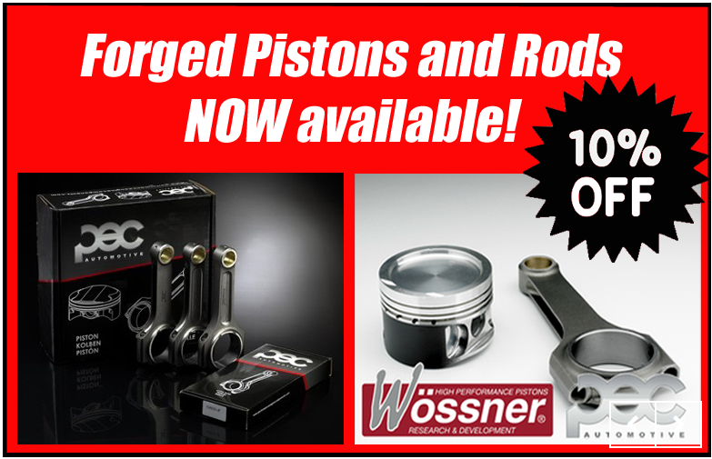 10% Off across the PEC / Wossner range of Forged Pistons and ROds